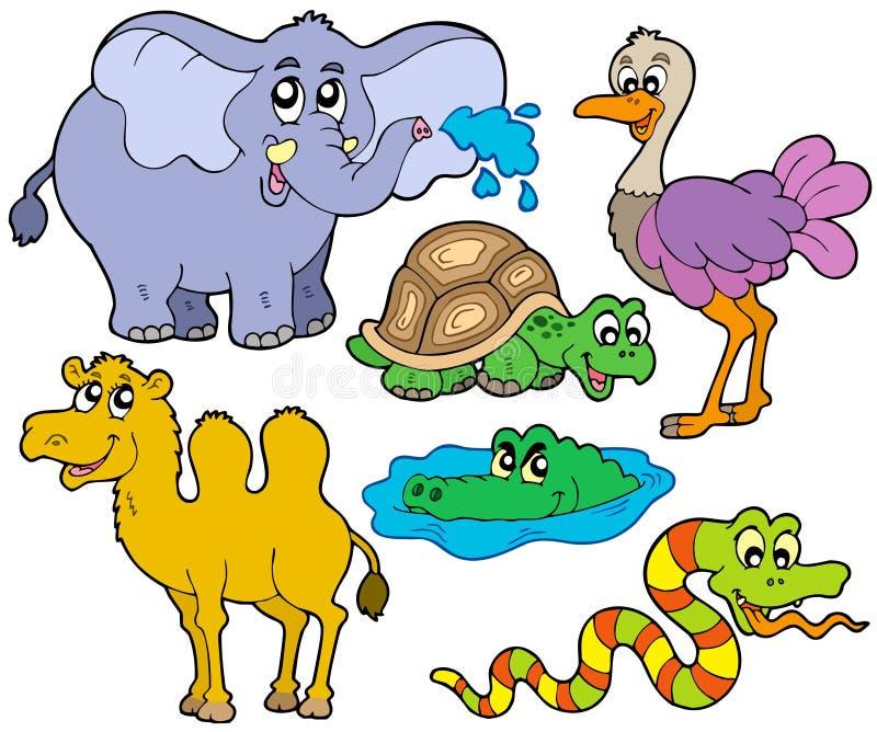 tropisk djursamling stock illustrationer