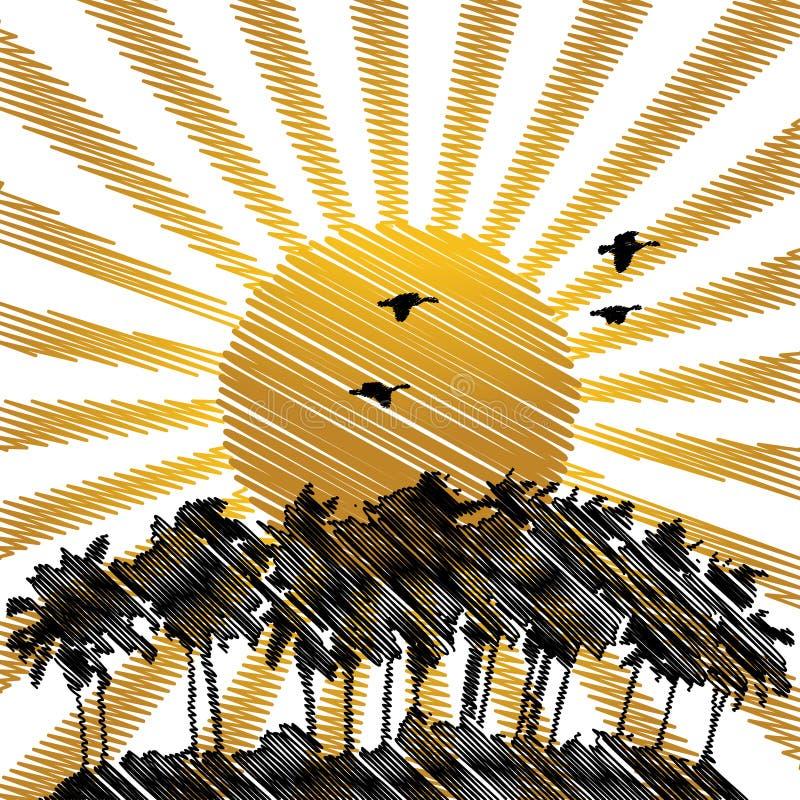 tropisk drawhandliggande stock illustrationer