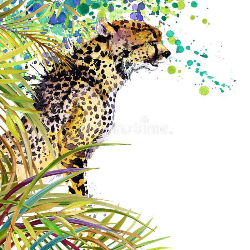 Tropisk exotisk skog, gröna sidor, djurliv, gepard, vattenfärgillustration ovanlig exotisk natur för vattenfärgbakgrund stock illustrationer