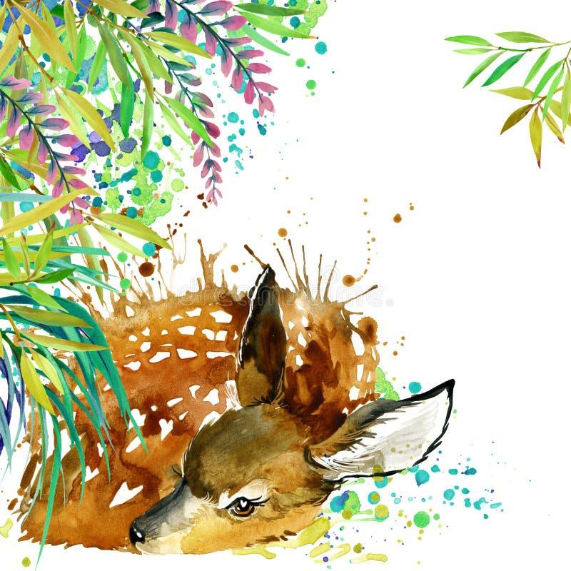 Tropisk exotisk skog, gröna sidor, djurliv, hjort, vattenfärgillustration ovanlig exotisk natur för vattenfärgbakgrund royaltyfri illustrationer