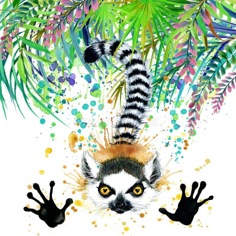 Tropisk exotisk skog, gröna sidor, djurliv, maki, vattenfärgillustration ovanlig exotisk natur för vattenfärgbakgrund royaltyfri illustrationer