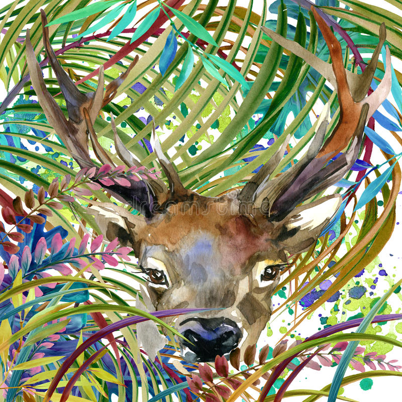 Tropisk exotisk skog, hjort, gröna sidor, djurliv, vattenfärgillustration vektor illustrationer