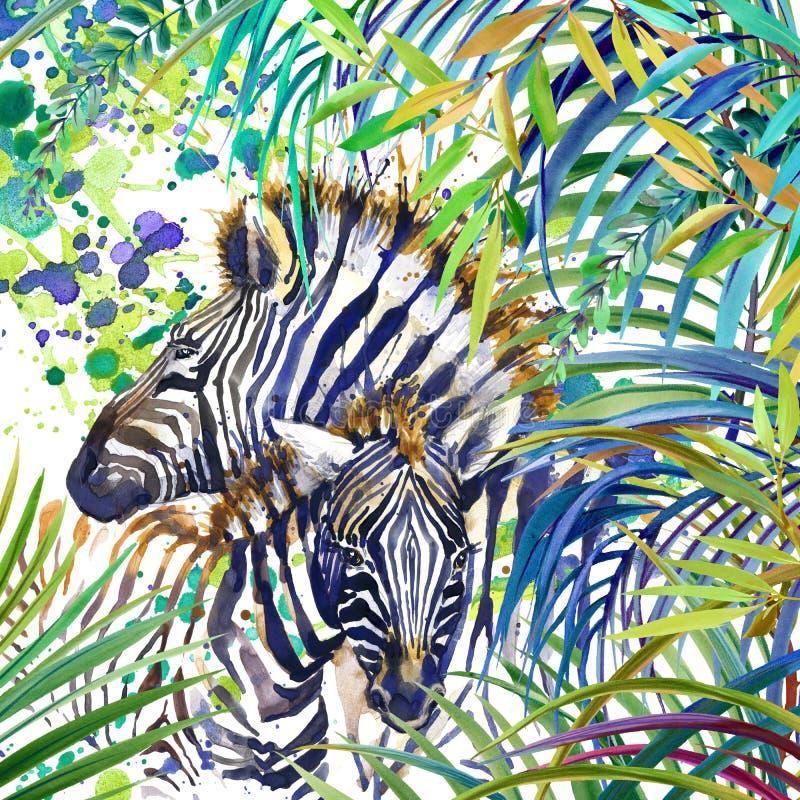 Tropisk exotisk skog, sebrafamilj, gröna sidor, djurliv, vattenfärgillustration fe vattenfärgillustration vektor illustrationer