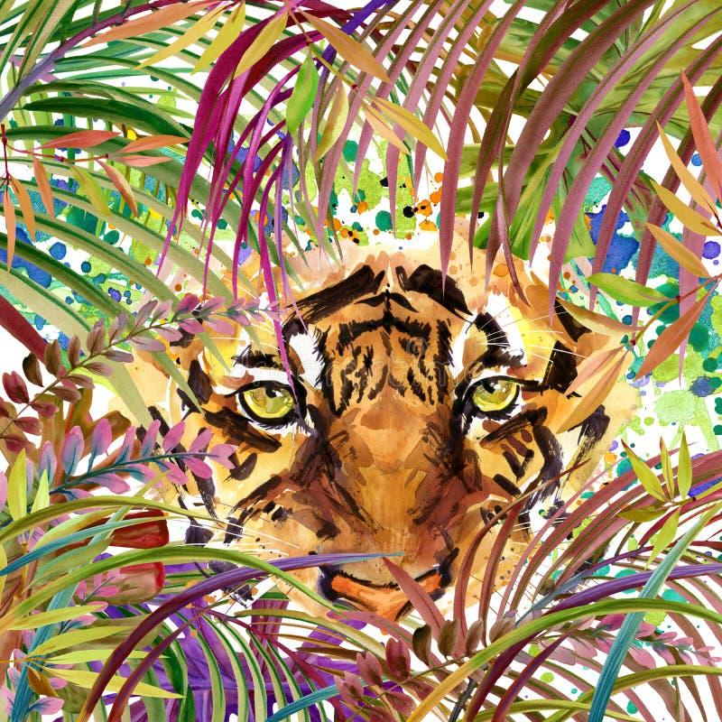 Tropisk exotisk skog, tiger, gröna sidor, djurliv, vattenfärgillustration vektor illustrationer