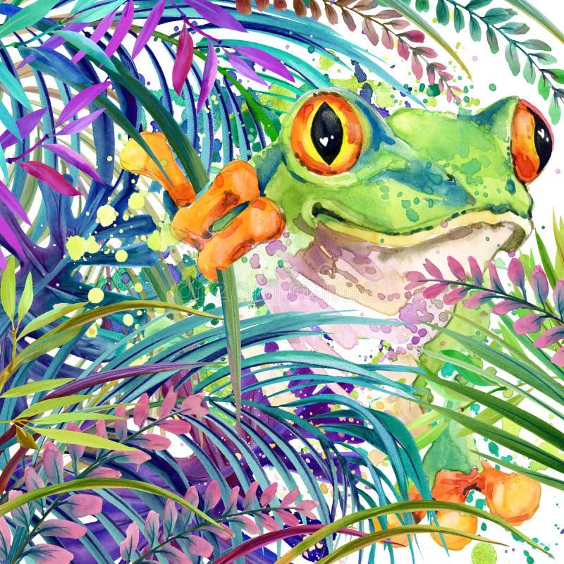Tropisk exotisk skog, tropisk groda, gröna sidor, djurliv, vattenfärgillustration royaltyfri illustrationer