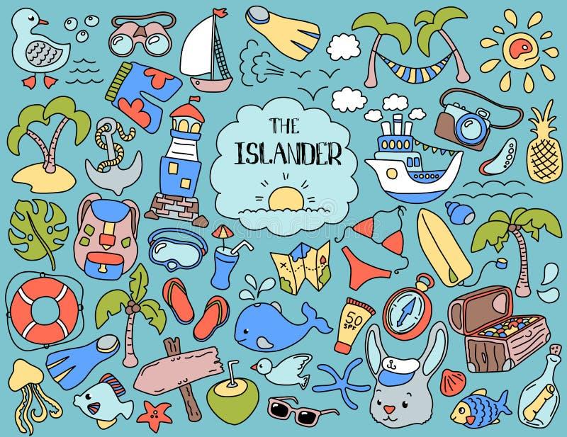 Tropisk färgrik clipart för ösommarsemester Tappningvektorillustrationer Nautisk logouppsättning Sommarloppclipart vektor illustrationer