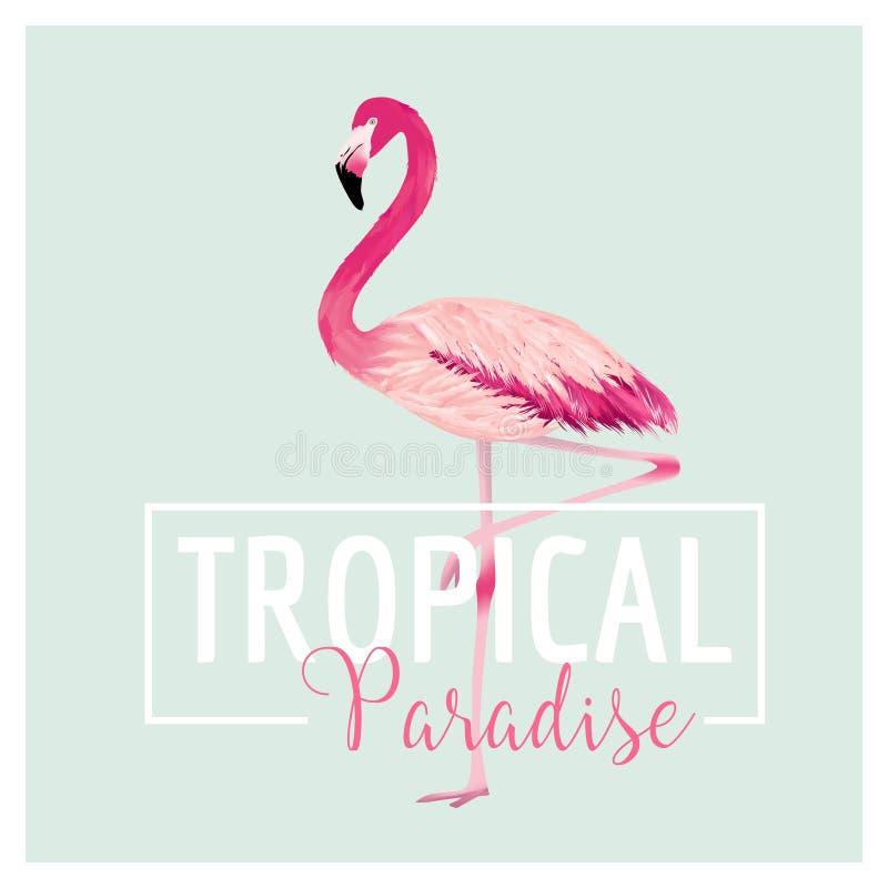 Tropisk fågel Flamingobakgrund Gömma i handflatan med havet och träbrädet