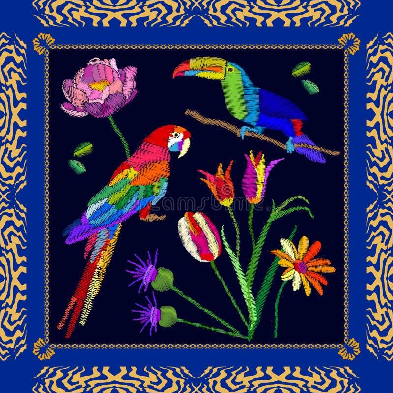 Tropisk fågelbroderi royaltyfri illustrationer