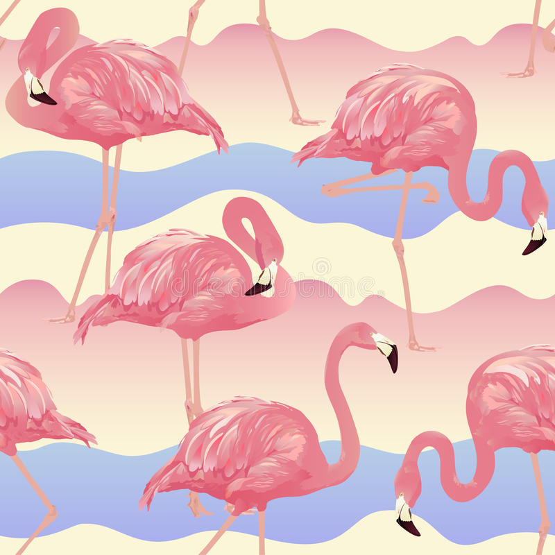 Tropisk fågelflamingobakgrund stock illustrationer