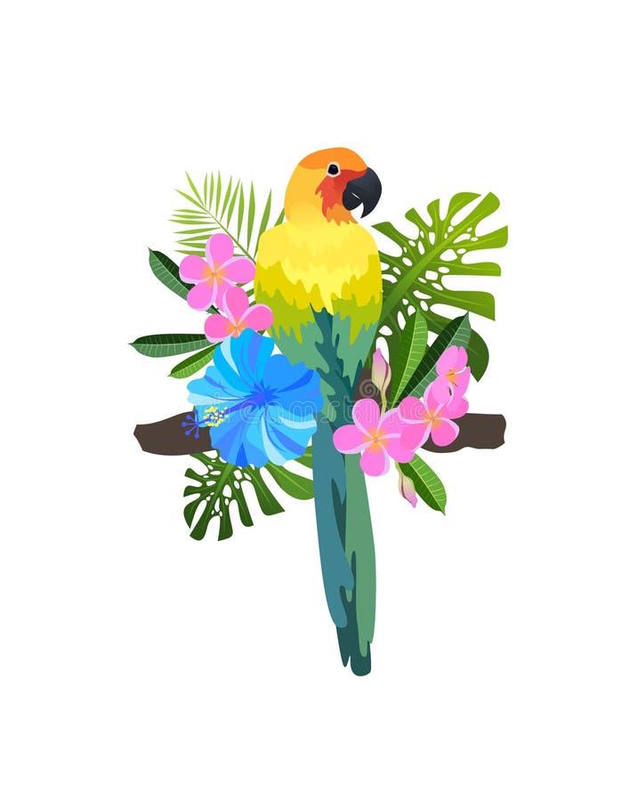 Tropisk fågelsammansättning stock illustrationer