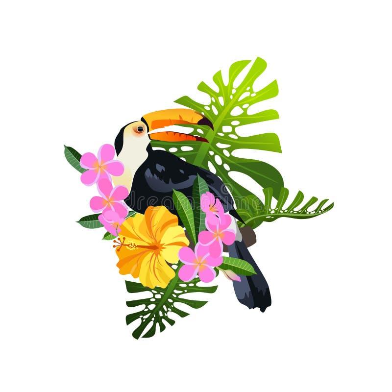 Tropisk fågelsammansättning vektor illustrationer