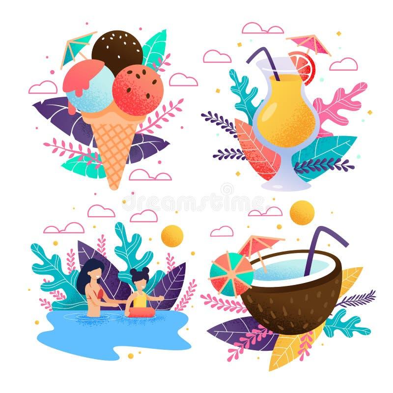 Tropisk fest och lycklig vila familjPromouppsättning vektor illustrationer