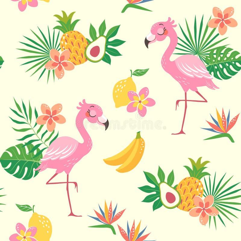 Tropisk flamingofågelmodell stock illustrationer