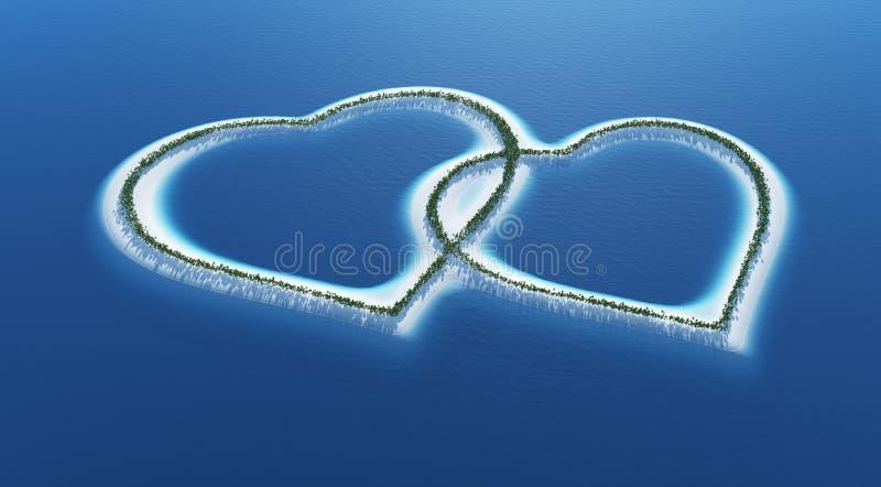 Tropisk formad ö för förälskelse hjärta stock illustrationer