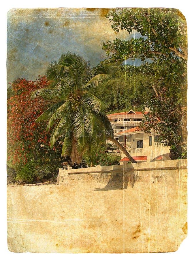 tropisk gammal vykort för liggande royaltyfri illustrationer