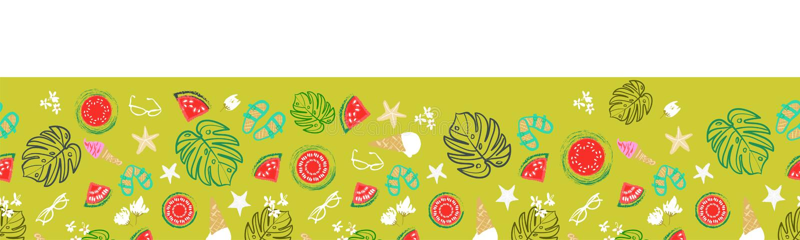 Tropisk gräns för sommarsemester, retro strand för tappning och sömlös vektordesign för avkoppling stock illustrationer