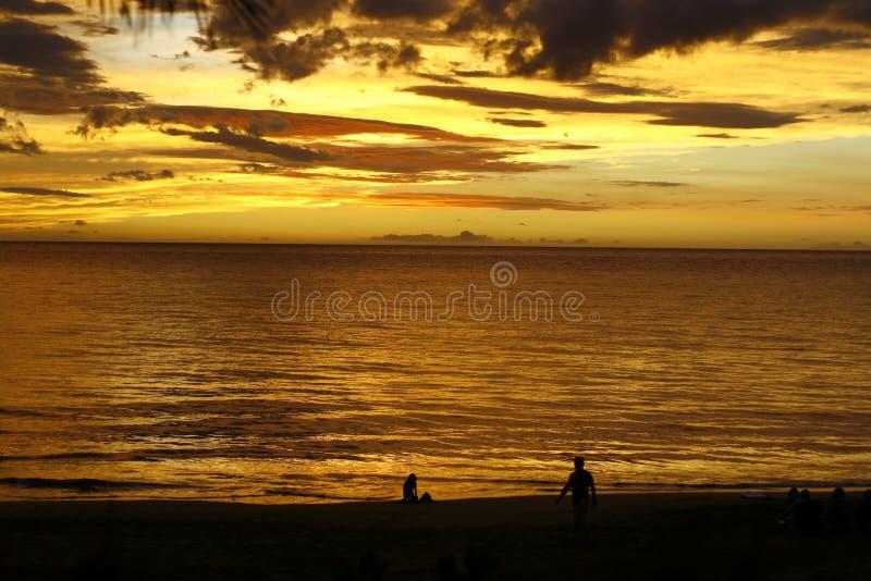 tropisk guld- solnedgång fotografering för bildbyråer