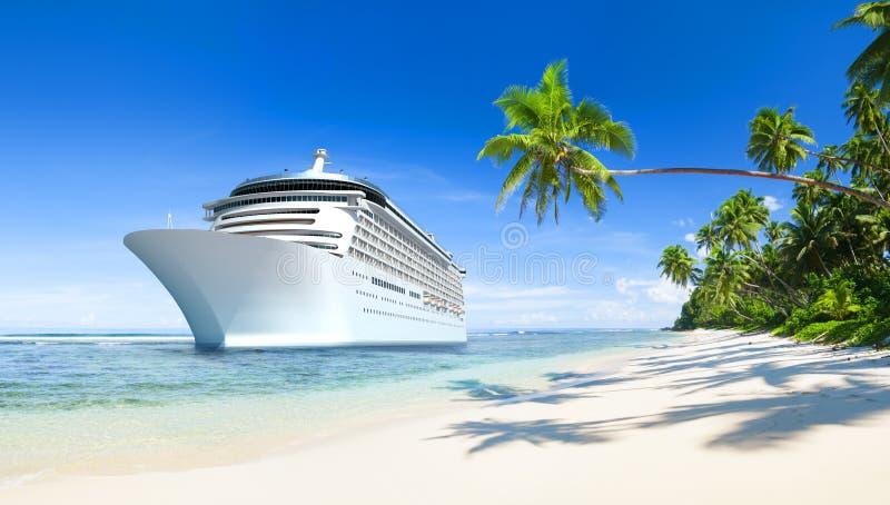 Tropisk härlig strand med kryssningskeppet stock illustrationer