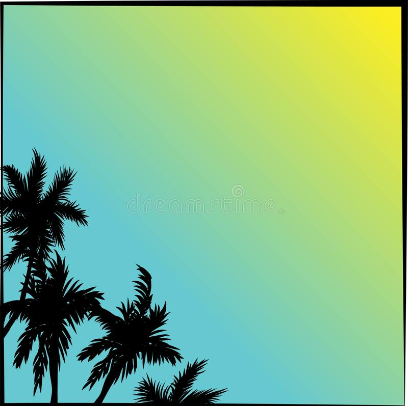 Tropisk illustration för kokosnötpalmträdkonturer över en himmel för blå himmel i vektorformat stock illustrationer