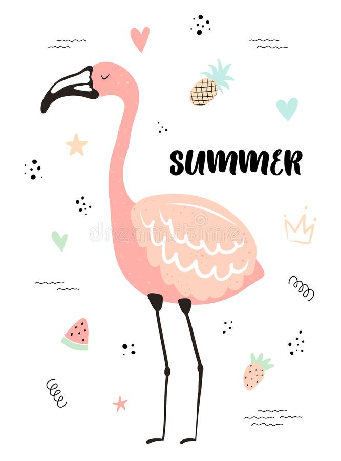 Tropisk illustration för vektor av en flamingo med jordgubben, ananas, vattenmelon, hjärtor, stjärnor Sommar hand-dragen exotisk  royaltyfri illustrationer