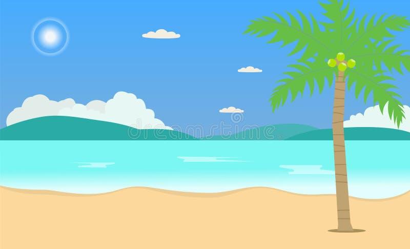 Tropisk illustration f?r vektor f?r begrepp f?r natur f?r fritid f?r semester f?r strandloppferie H?rlig seascape- och himmelbakg royaltyfri illustrationer