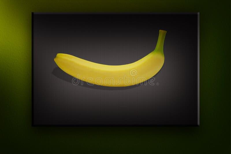 Tropisk isolerad gul bakgrund för Banane fruktnatur arkivbild