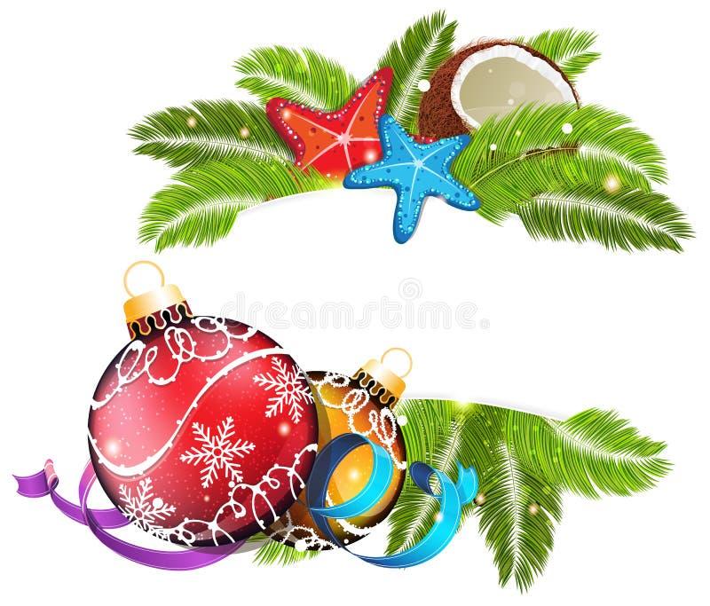 tropisk jul royaltyfri illustrationer
