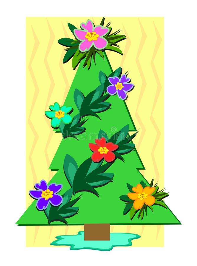 tropisk jultree royaltyfri illustrationer