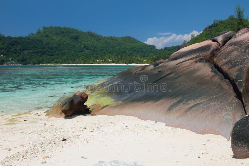 tropisk kustö Baie Lazare, Mahe, Seychellerna royaltyfri foto