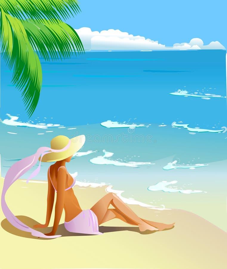 tropisk kust stock illustrationer