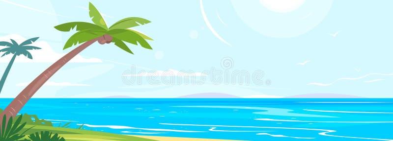 Tropisk kust med palmtr?d royaltyfri illustrationer