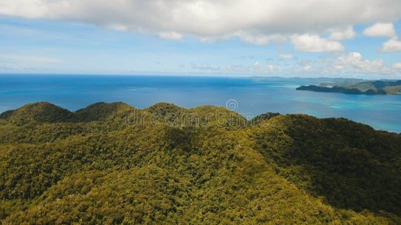 Tropisk lagun för flyg- sikt, hav, strand tropisk ö Siargao Filippinerna arkivfoto