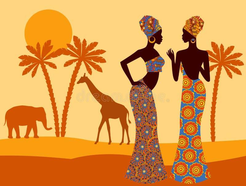 tropisk liggande härlig svart kvinna afrikansk savannah stock illustrationer