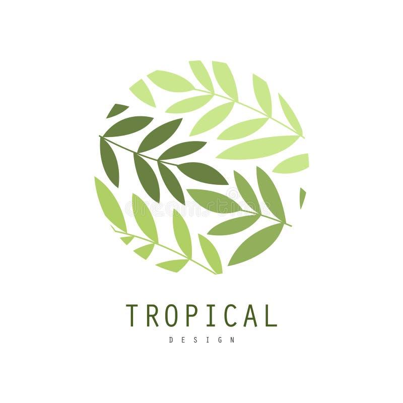 Tropisk logodesign, runt emblem med palmbladvektorillustrationen på en vit bakgrund stock illustrationer
