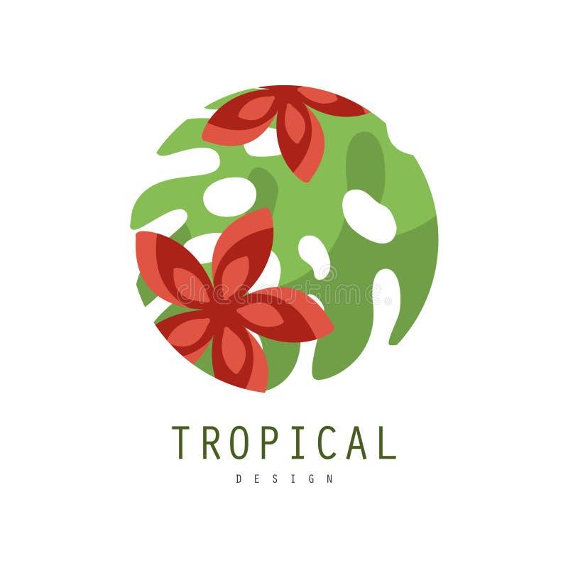 Tropisk logodesign, runt geometriskt emblem med palmbladet och röd blommavektorillustration på en vit bakgrund vektor illustrationer
