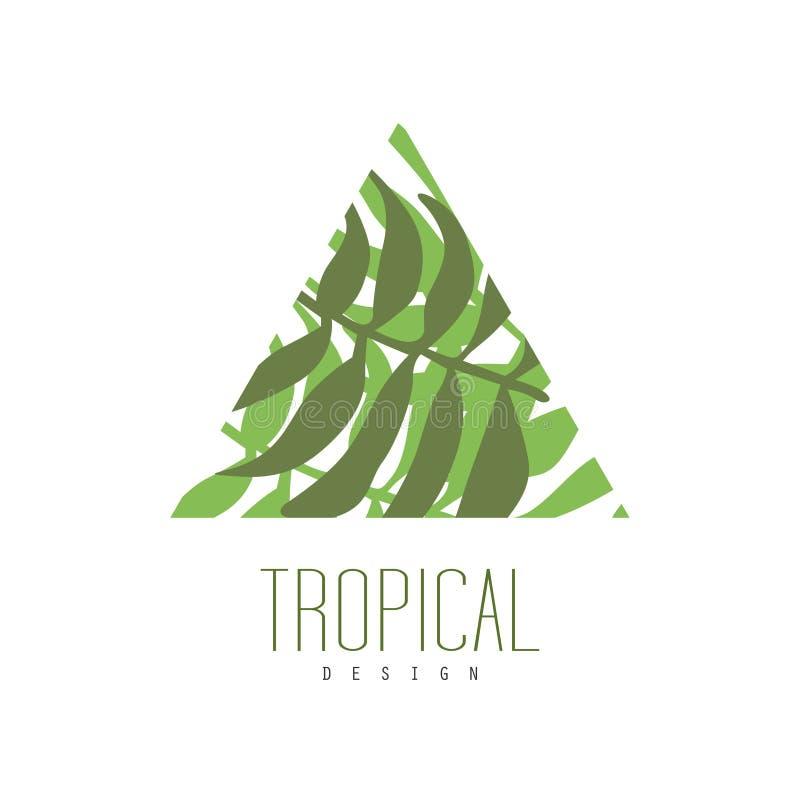 Tropisk logodesign, triangelemblem med palmbladvektorillustrationen på en vit bakgrund royaltyfri illustrationer