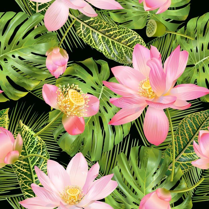 Tropisk lotosmodell stock illustrationer