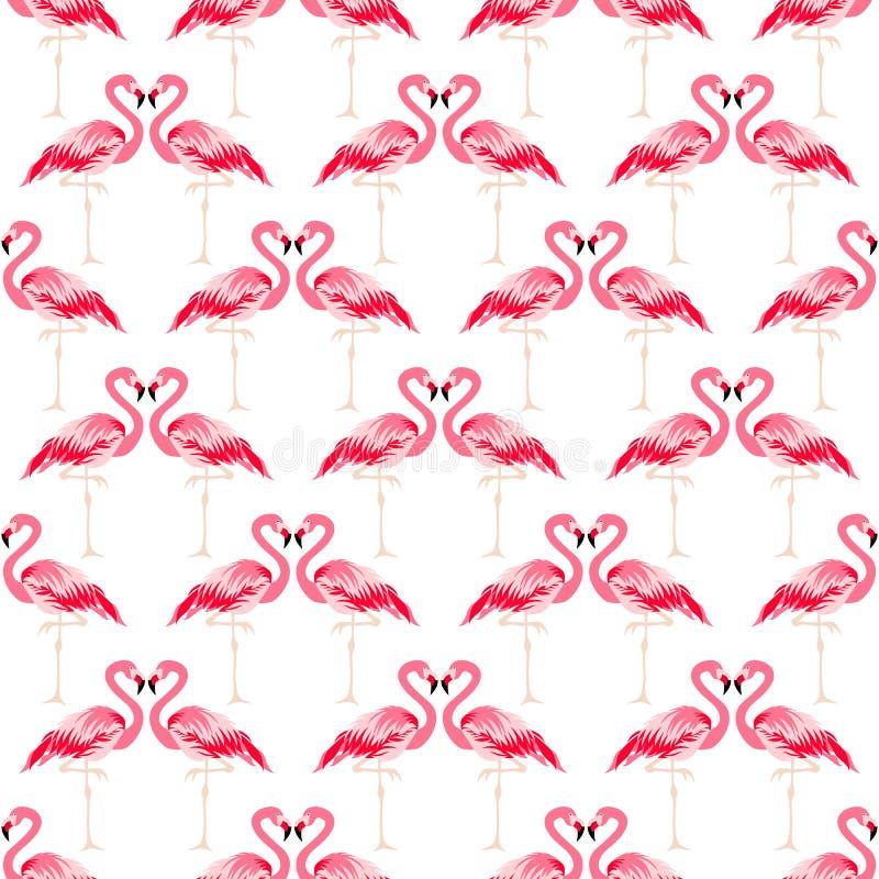 Tropisk modell för sömlös sommar med flamingofågeln stock illustrationer