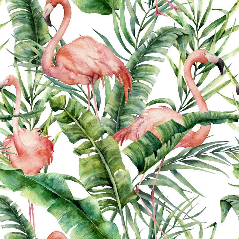 Tropisk modell för vattenfärg med palmblad och flamingo Räcka målad grönska den exotiska filialen och sidor på vit stock illustrationer