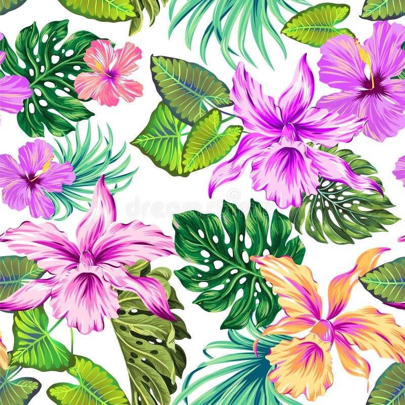 Tropisk modell för vektor med orkidér royaltyfri illustrationer