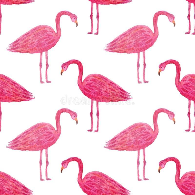 Tropisk modell med den rosa flamingo Hand målad vattenfärg som upprepar textur Kan användas för design för inpackningspapper och  vektor illustrationer
