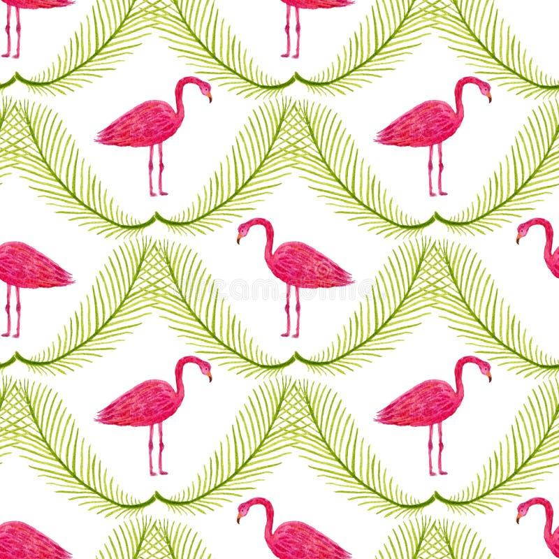 Tropisk modell med flamingo och palmblad Hand målad vattenfärg som upprepar textur Kan användas för inpackningspapper och fabr vektor illustrationer