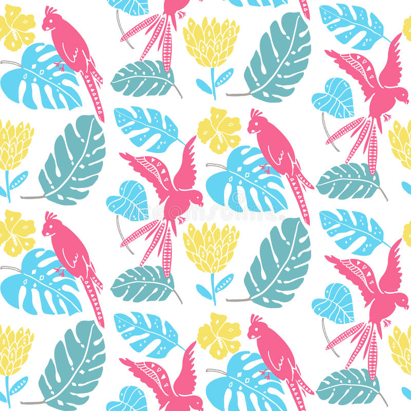 Tropisk modell med hand drog sidor, exotiska blommor och papegojor Hawaiansk sömlös textur, ljus tygdesign vektor illustrationer