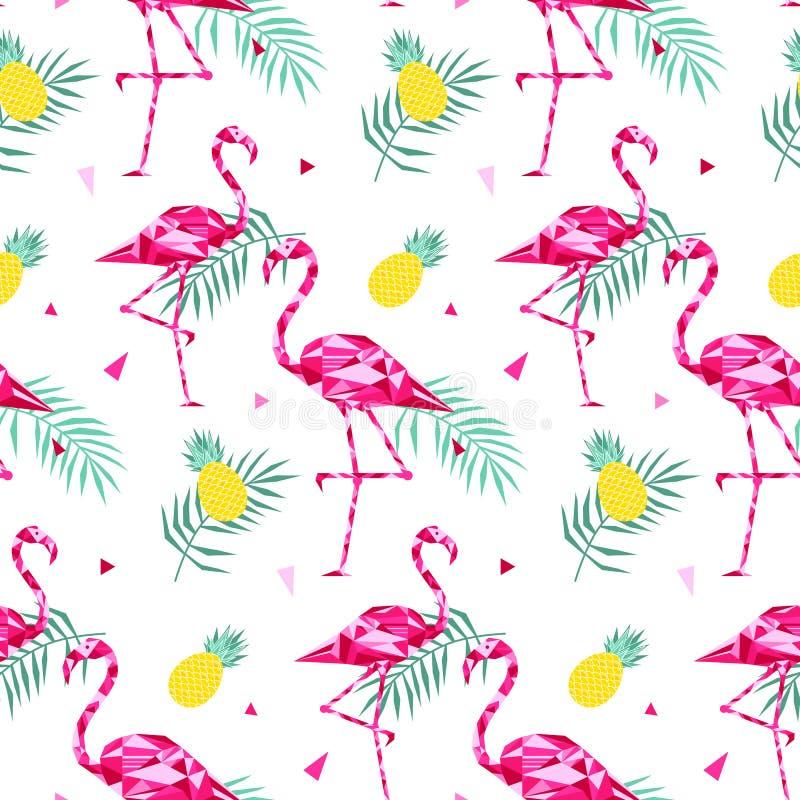 Tropisk moderiktig sömlös modell med rosa flamingo och palmblad Sommar exotisk Hawaii konstbakgrund, memphis vektor illustrationer
