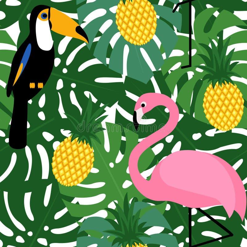 Tropisk moderiktig sömlös modell med rosa flamingo, tukan, ananors och gräsplanpalmblad vektor illustrationer