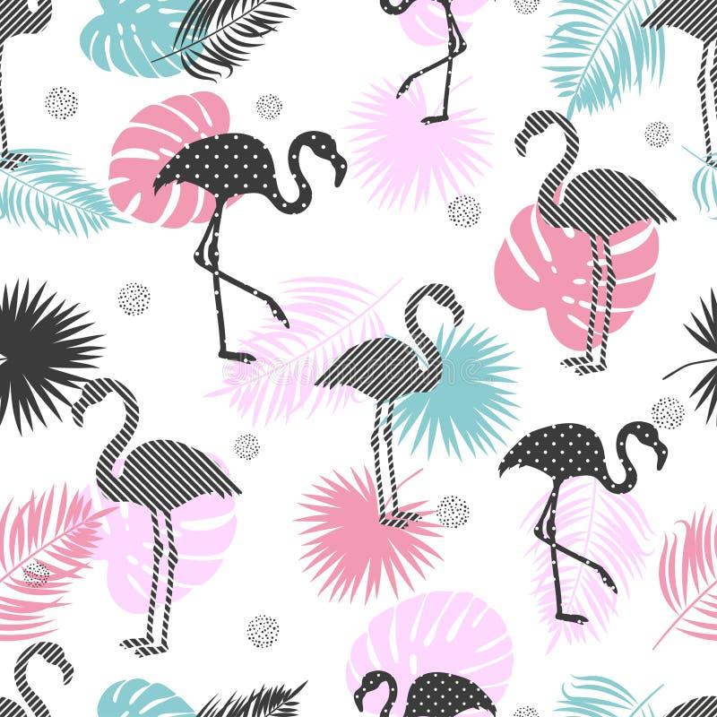 Tropisk moderiktig sömlös vektormodell med flamingo royaltyfri illustrationer