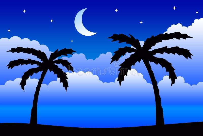 tropisk natt royaltyfri illustrationer