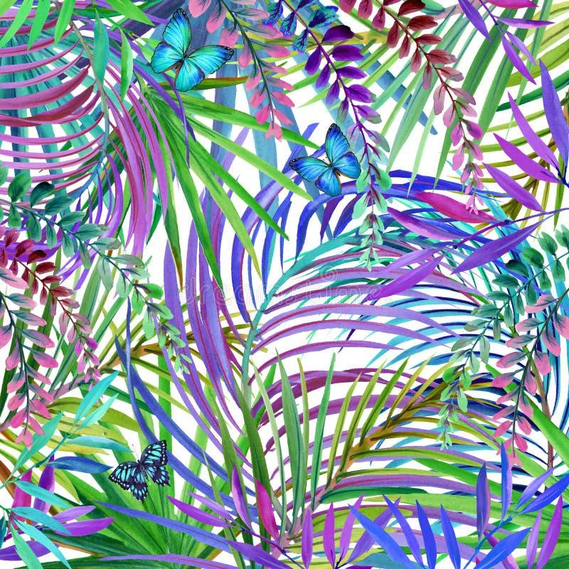 Tropisk naturbakgrund för vattenfärg Tropiska sidor, blommor och fjäril stock illustrationer