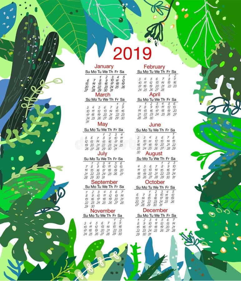 Tropisk naturkalender 2019, vektorillustration stock illustrationer