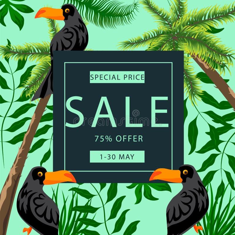 Tropisk papegojafågel med palmträdet Design f?r Sale banermall Specialt erbjudande f?r stor f?rs?ljning Svart papegoja och palmtr vektor illustrationer